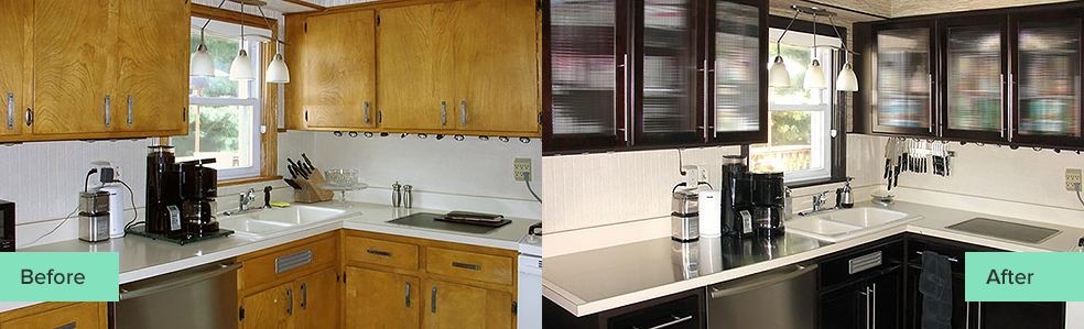 Before and After Photos of a Cabinet Refacing Case Study
